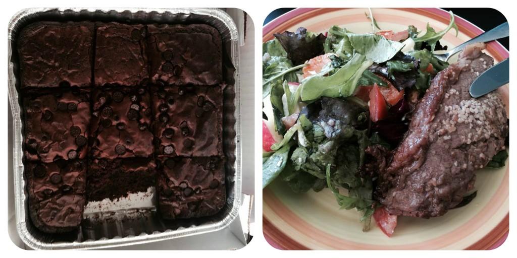O famoso brownie (DELICIOSO) e a proteína com salada (tirei toda a gordura e só comi a carne e a salada... MUITO BOM!)